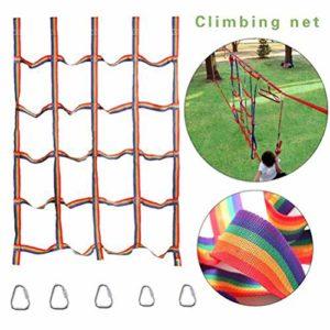 Suszian Arc-en-Ciel extérieur Filet d'escalade Enfants Ruban réseau Accessoires d'escalade pour la Formation en Plein air intérieur Escalade