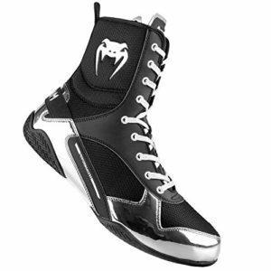 Venum Elite, Chaussures de Boxe Mixte Adulte,Noir / Argent,47,5