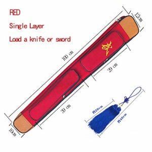 WUEI Sacs Taiji épée, épée imperméable Tendon Tissu épée Sac, Sacs épée Multifonctionnel Arts Martiaux, Cuir Unique PU layerStorage Sacs épée,Red