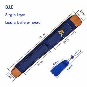 WUEI Tai Chi épée Sacs en Cuir PU épée Multifonctions d'arts Martiaux Sac à Une Seule Couche de Stockage, Tendon Tissu Épée Sac étanche,Blue