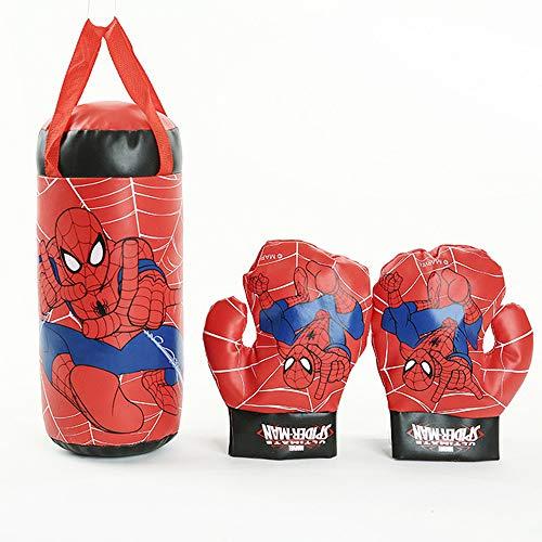 XIAOMIN Spiderman, Sac De Boxe pour Mini Gants De Boxe pour Enfants Avengers – Rouge, Bleu,Red-37 * 18 * 18cm
