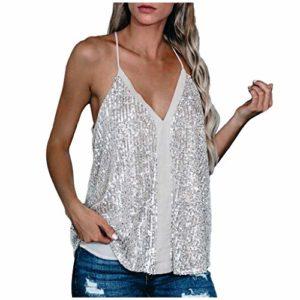 Yolmook 2020 Femme New Bretelles Sexy Débardeur Gilet à Paillettes Col V sans Manche T-Shirt Dos Nu en Vrac Haut Tops Brillante Sequins Débardeur Camisole Gilet Veste(Medium,Blanc)