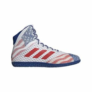 adidas Men's Mat Wizard Hype Wrestling Shoes (7, White/Royal/RED)