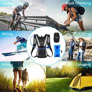 Nikduo Sac à Dos d'hydratation, Sac à Dos de Course avec vessie d'eau de 2 litres Ultraléger Sac à Dos de Vélo Sac de Bicyclette Randonnée Alpinisme Montagne Sport Camping Course Sac Unisexe Noir