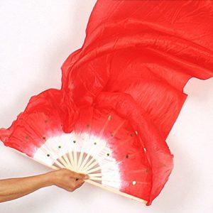 Sedensy Danse Belly Dance Soie Bambou Longue Fans Fait à la Main Les Fans de Soie pour Belly Dance Party Stage Performance 1.8m, Red