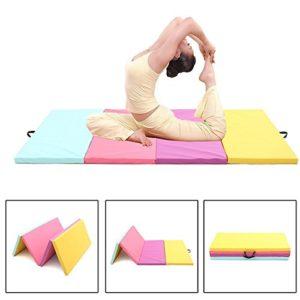 ShopSquare64 Tapis de Yoga Pliable en Cuir PU 118 x 119,4 x 5,1 cm