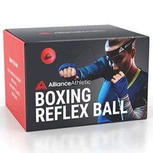 Alliance Athletic Balle de réflexe de Boxe – Bandeau Ajustable, Balle de réaction. Entraînez-Vous à la Boxe, au Conditionnement Physique, à la précision du Coup de Poing, au Timing et aux réflexes.