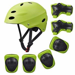 SKL Casque de vélo de Scooter BMX pour Enfants,Genou en Gel, protège-Coudes et protège-Mains (Vert)