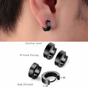 8 Paire Hommes inoxydable Boucles d'oreilles en acier, 8 mm boucles d'oreilles clip en acier inoxydable émail boucles d'oreilles lunette ronde piercing oreille piercing tunnel boucles d'oreilles