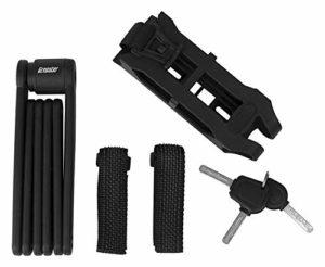 Antivol de la marque Gregster pour tous type de vélo, antivol massif pliable pour le vélo compact à transporter, antivol avec trois clés et support, noir
