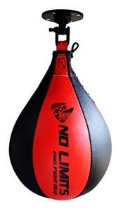 AQF Ensemble sac de frappe en cuir pour travailler la vitesse, sac pivotant pour entraînement MMA, multicolore, noir/rouge