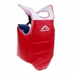B Baosity Gilet Garde Poitrine Équipement de Protection Sangle Élastique Réglable – Bleu Rouge, S