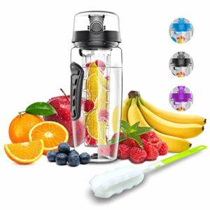 Babacom Bouteille d'eau avec infuseur à Fruits 1L Fabriquée en Tritan sans BPA,Gourde Sport d'infusion Amovible, Anti-Fuite pour Sport Ecole Camping Piscine,etc