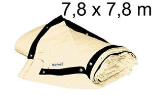 bâche de ring de boxe 7,8 x 7,8 m – coton résistant, blanc ivoire