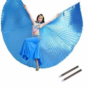 Calcifer égyptien égyptienne Belly Dance Isis Ailes d'ange avec 2bâtons télescopiques (Bleu Ciel)