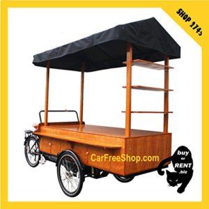carfreeshop SHOP-BIKE2745 Vélo ELECTRIQUE BOUTIQUE VINTAGE pour VENTE à EMPORTER/STAND de marché/magasin MOBILE en zone piétonne, cargo à 3-roues/trike/tricycle/triporteur couvert (auvent de protection), caisse de stockage/rangement/placard – mobilité douce/décarbonée/verte/sobre