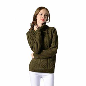 Chandail à manches longues Femmes, Toamen Tricot Pull Automne et hiver Vêtements pour femmes Nouveau produit (L, vert)