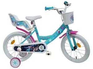 Disney Vélo 16″ Fille Reine des Neiges Équipé de 2 Freins – 2 stabilisateurs avec Montage sans Outils – Transmission Monovitesse