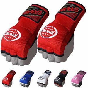 Farabi – Sous-gants de boxe pour enfants – Pour MMA, Muay Thai, Boxe, Gym ou comme gants de protection pour les mains – Rembourrés avec du gel, Red, Junior