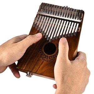 Gereton Piano de Pouce DE 17 Touches, 17 Touches EQ Kalimba Acacia Solide Doigt Piano Piano Mini Haut-Parleur Electrique Pickup étui