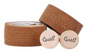 "Gusti Cuir Studio – Guidolines en Cuir ""Fausto C."" Ruban guidolines Lièges pour Guidon Inclus protège Guidon en Cuir de Buffle Marron Clair 2A80-20-5"