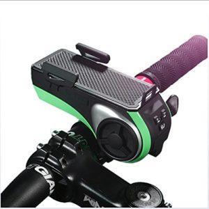G-W-J Haut-Parleur extérieur de Bicyclette de Bicyclette, klaxon de Phare, Support de téléphone Portable, Puissance Mobile, téléphone Mains Libres Multi-Fonctions 5 dans 1