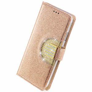 Herbests Coque Galaxy S7 Cuir Paillette Coque Antichoc Bling Pochette Etui en Cuir Miroir Coque à Rabat Magnétique Housse de Protection Flip Wallet Case avec 5 Porte-Cartes,d'or