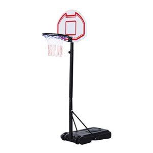 Homcom Panier de Basket-Ball sur Pied avec Poteau Panneau, Base de lestage sur roulettes Hauteur réglable 1,65-2,10 m Noir Blanc