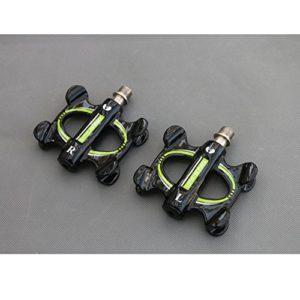 HXsports Pédales de vélo, en Aluminium, pédale, Facile à Installer, pédales CNC Bearing – Accessoires : Toutes Les Fibres Charbon – Ultra Light avec vélos, grüne