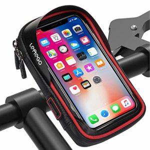 LEMEGO Sacoche Vélo Téléphone Etanche, Support Téléphone Vélo Etanche Sacoche Guidon Cadre Vélo VTT Moto Scooter Housse Transparent Ecran Tactile avec Emplacement pour Smartphone sous 6,2 Pouces