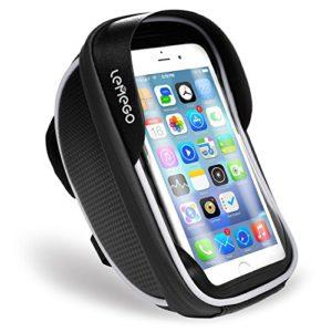 LEMEGO Support Téléphone Vélo Etanche, Sacoche Vélo Guidon Cadre Housse Smartphone pour Vélo VTT Moto avec Pochette Rangement Ecran Tactile Transparent pour Smartphone sous 6 Pouces (Size Noir)