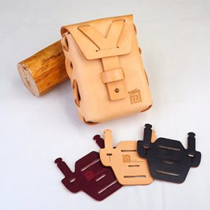 L+T construct Statement Waist Bag with with Brompton Chair Mount Pad – Handmade by Full Grain Italy Leather with Beautiful unpainted RAW Color Bag and Aniline Painted Black Color Pad, Stylish Design