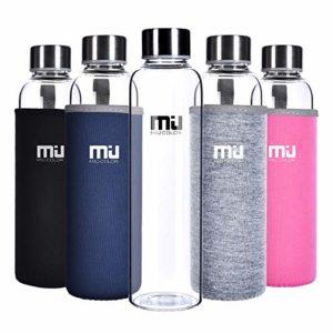 MIU COLOR 360ml/550ml Bouteille d'Eau en Verre Borosilicate – Housse Anti-échaudage en Néoprène Écologique sans BPA, PVC et Plomb (550ml Gris)