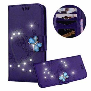 Moiky Clapet Coque pour Huawei P20 Lite,Etui pour Huawei P20 Lite, Strass 3D Papillon Magnétique Violet Coeur d'amour Fleur Motif PU Cuir Diamant Stand Porte-Monnaie Coque