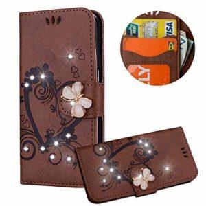 Moiky Clapet Coque pour iPhone XR,Etui pour iPhone XR, Strass 3D Papillon Magnétique Marron Coeur d'amour Fleur Motif PU Cuir Diamant Stand Porte-Monnaie Coque