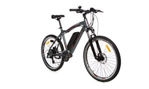 Moma Bikes Vélo VTT Electrique VAE , E-MTB 26″, Aluminium, SHIMANO 24V, Freins a Disque, Suspension Avant, Bat. Ion Lithium 36V 16Ah