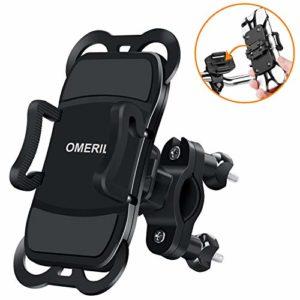 OMERIL Support Téléphone Vélo Moto, Support Vélo du Guidon avec Sangle en Silicone Anti-Vibrations Rotation 360 ° pour 3,5 à 6,3 Pouces GPS/iPhone X/8/8 Plus,Samsung Galaxy S9 Plus/S9/S8/Xiaomi etc