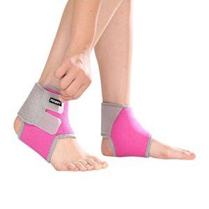ONT Bandage de Cheville réglable pour Enfant 1 Paire de Chevilles pour Le Football, Le Basket-Ball, Le Cyclisme, la Course à Pied, la Danse, Rose, s
