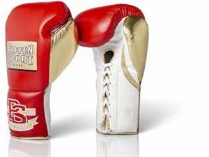 Paffen Sport «Pro Mexican» Gants de Boxe Professionnels – Rouge/doré/Blanc – 8 oz