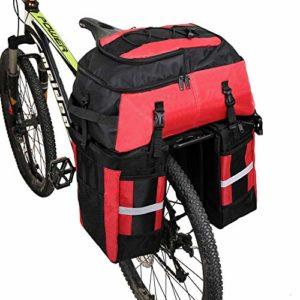PELLOR Pellor70 L Sacoche Trois Poches pour vélo Sac de Cyclisme avec Couverture imperméable (Noir et Rouge, Unique)