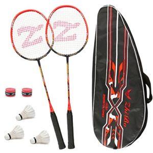 Philonext 2 Pack Raquettes de Badminton Entraînées avec 3 Volants & Sac de Transport & 2 Surgrips, Raquette de Badminton Légère en Fibre de Carbone de Sport, pour Joueurs Professionnels et Débutants
