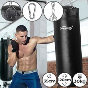 Physionics Sac de Frappe Plein | Rempli, Ø35 cm, H120 cm, Poids 30 kg, Chaîne de Suspension et Mousqueton Inclus | Punching Bag Boxe, MMA, Muay Thai, Kickboxing, Arts Martiaux