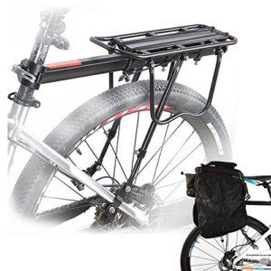 Porte-bagages Arrière Universel de vélo Ajustable en Aluminium,Bagage Transport Réglable Accessoire de Cyclisme – Capacité Max de 50 kg