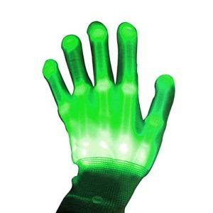 Primi une paire Danse Carnaval Concert fête d'éclairage LED Clignotant Glow Coton doigt Main Gloves-green