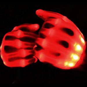 Primi une paire Danse Carnaval Concert fête d'éclairage LED Clignotant Glow Coton doigt Main Gloves-red
