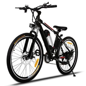 Profun Vélo de Montagne électrique 27.5/26 Pouces 350W/250W avec Shimano 24/21 Vitesse E-VTT avec Batterie au Lithium Amovible 36 V 10.4Ah/36V 8Ah pour Hommes Femmes (26» noir)