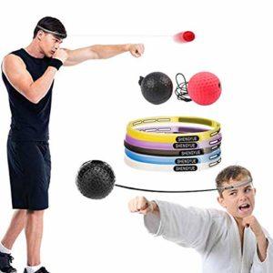 Pueri Balle de boxe réflexe, balle de boxe avec bandeau parfait pour la réaction, l'agilité, la vitesse de poinçonnage, les compétences de combat et la coordination des yeux de la main