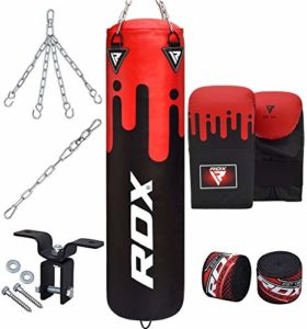 RDX 8PC Sac de Frappe Rempli Lourd MMA Punching Ball Muay Thai Arts Martiaux Kickboxing Kit Boxe avec Gants Chaine Suspension Support Mural Punching Bag