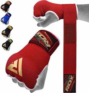 RDX Boxe Bandes Bandage MMA Sous Gants Protège Poignet Bande D'entrainement Muay Thai – Rouge/Noir – Large