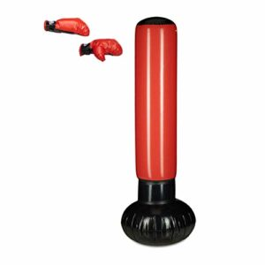 Relaxdays Sac de frappe boxe gonflable punching ball boxe 160 cm de hauteur enfant, noir rouge